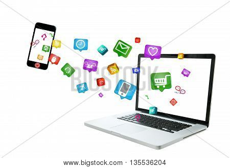 Internet of things Modern communication technology illustration data transfer with mobile phone and computer