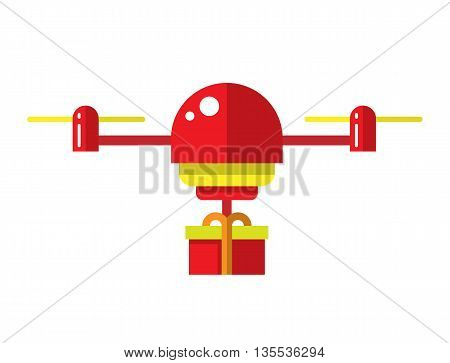 Copter illustration. Air drones. Flat drone. Drone with present