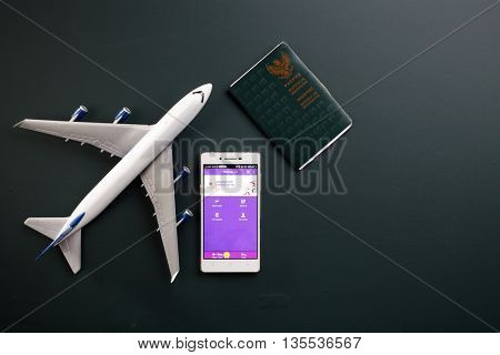 Kual Lumpur,Malaysia 19th Jun 2016,Malindo airline mobile apps with toy aeroplane