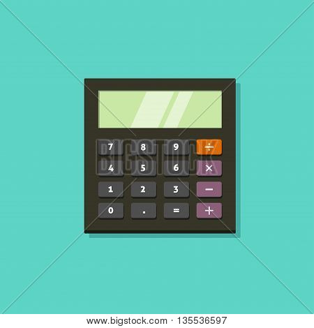 Black calculator vector icon with keyboard isolated on green background and shadow