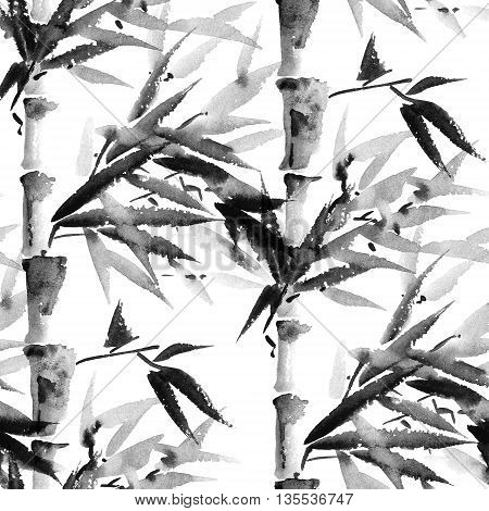 Seamless pattern with bamboo forest. Sumi-e painting.