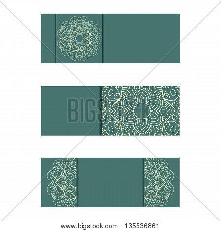 Horizontal Banner Templates With Mandala Pattern. Vintage Flyer.