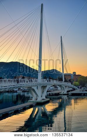 Bridge over water in La Spezia, Italy, at the sunset
