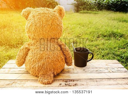 Sweet teddy bear with cup of coffee at a morning sun light
