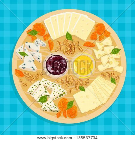 Colorful vector illustration of wooden cheese plate with sauce and honey on the tablecloth