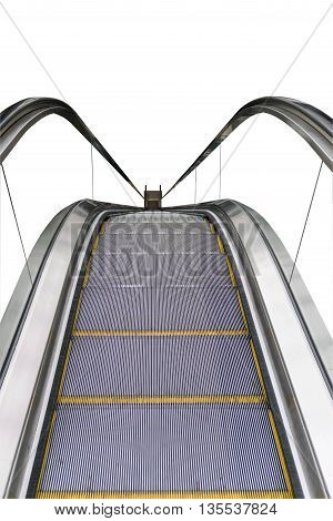 Closeup of the escalator isolated on white background.