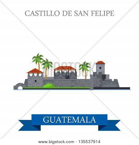 Castillo de San Felipe de Lara in Guatemala vector illustration