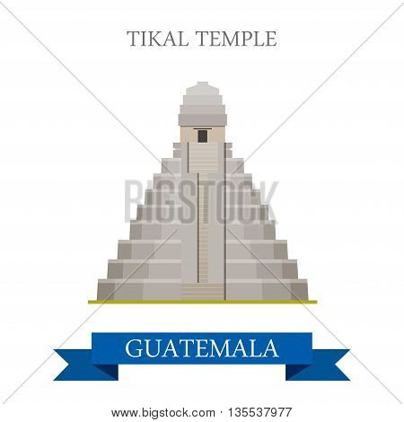 Tikal Temple in Guatemala flat cartoon vector illustration
