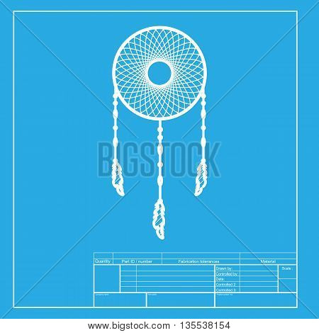 Dream catcher sign. White section of icon on blueprint template.