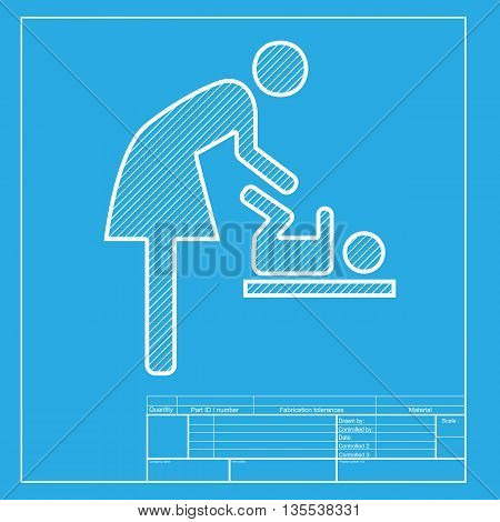 Symbol for women and baby, baby changing. White section of icon on blueprint template.