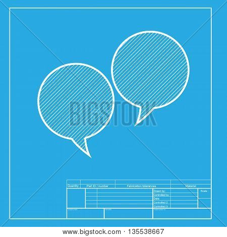 Speech bubble sign. White section of icon on blueprint template.