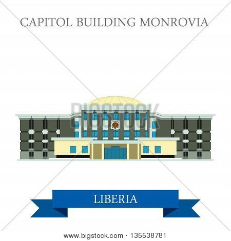 Capitol Building Monrovia in Liberia vector illustration.