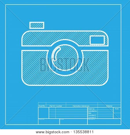 Digital photo camera sign. White section of icon on blueprint template.