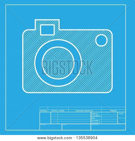 Digital camera sign. White section of icon on blueprint template.