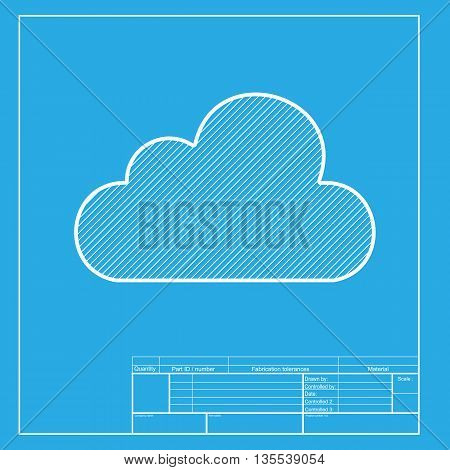 Cloud sign illustration. White section of icon on blueprint template.