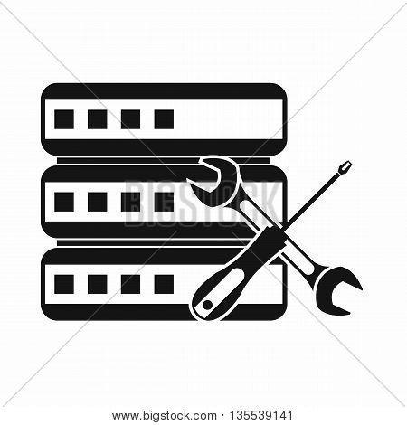 Database with screwdriver and spanner icon in simple style on a brown background