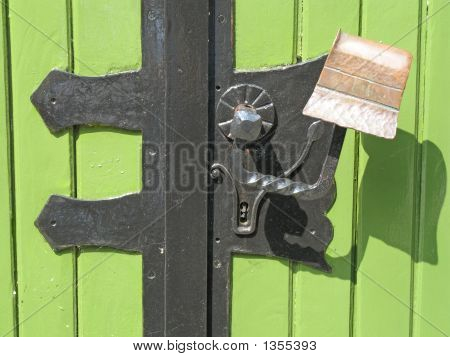 Green Door With Handle