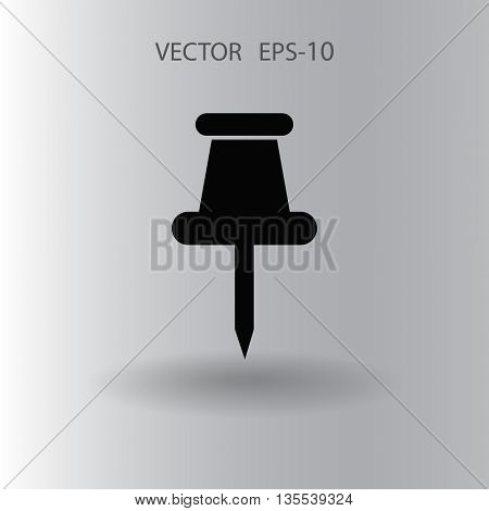 Flat long shadow Pushpin icon, vector illustration