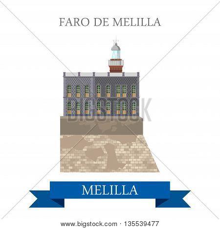 Foro de Melilla. Flat cartoon showplace vector illustration