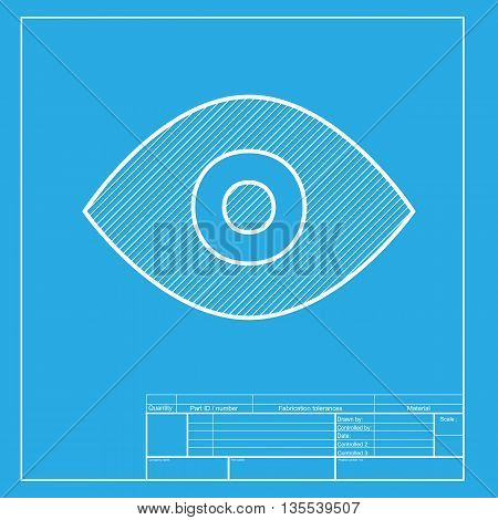 Eye sign illustration. White section of icon on blueprint template.