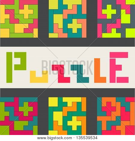Colored puzzle game. Color options. Vector illustration.
