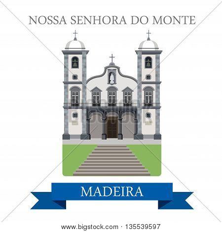 Nossa Senhora do Monte Madeira Flat cartoon vector illustration