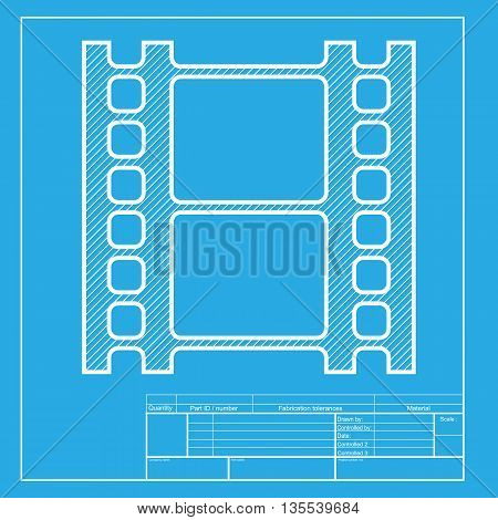 Reel of film sign. White section of icon on blueprint template.