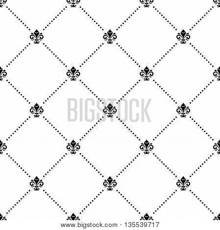 Seamless black and white ornament. Modern geometric pattern with royal lilies