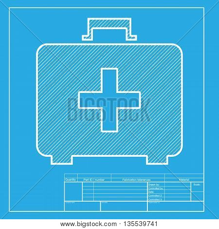 Medical First aid box sign. White section of icon on blueprint template.