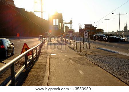 The Track In The City At Sunset