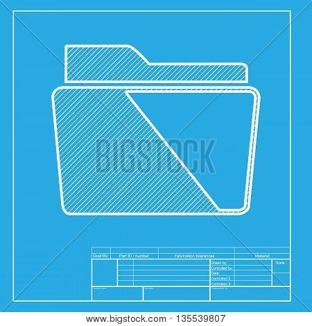 Folder sign illustration. White section of icon on blueprint template.