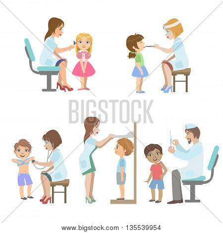 Kids On Medical Examination Set Of Simple Design Illustrations In Cute Fun Cartoon Style Isolated On White Background