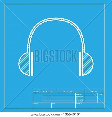 Headphones sign illustration. White section of icon on blueprint template.