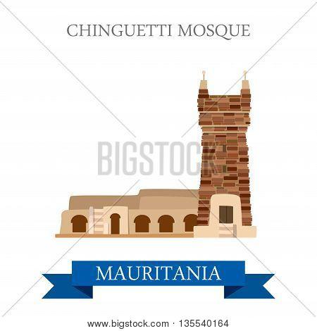 Chinguetti Mosque in Mauritania Flat cartoon vector illustration