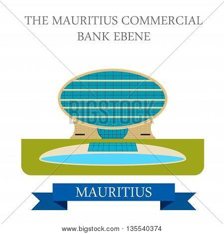 The Mauritius Commercial Bank Ebene. Flat vector illustration