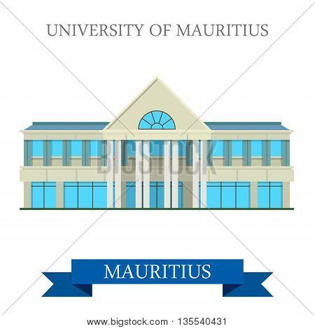 University of Mauritius. Flat cartoon style historic sight showplace web site vector illustration