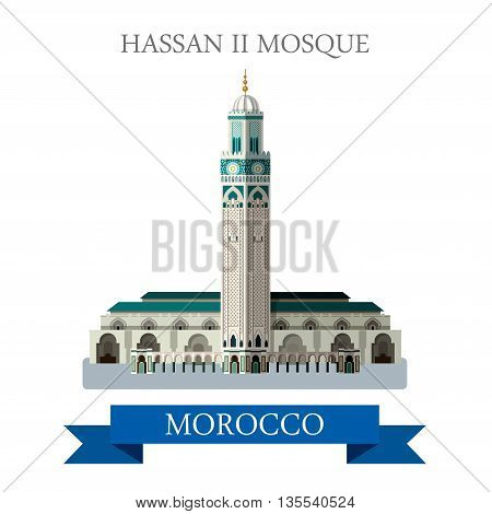 Hassan II Mosque in Morocco. Flat cartoon vector illustration