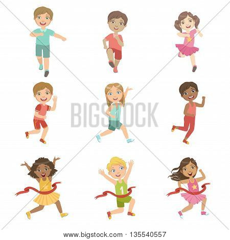 Kids In Running Competition Set Of Cute Big-eyed Characters Flat Vector Isolated Illustrations On White Background