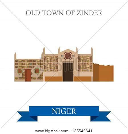 Old Town of Zinder in Niger Flat cartoon web vector illustration