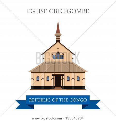 Eglise CBFC-Gombe in Republic of the Congo vector illustration