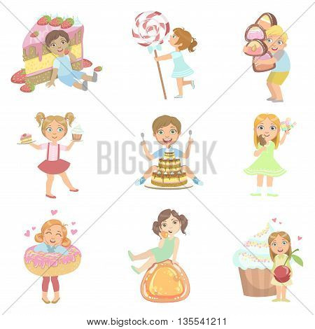 Kids And Giant Sweets Set Of Simple Design Illustrations In Cute Fun Cartoon Style Isolated On White Background
