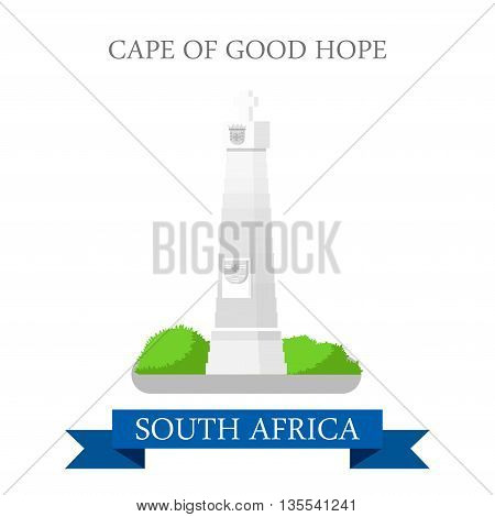 Cape of Good Hope in South Africa. Flat web vector illustration