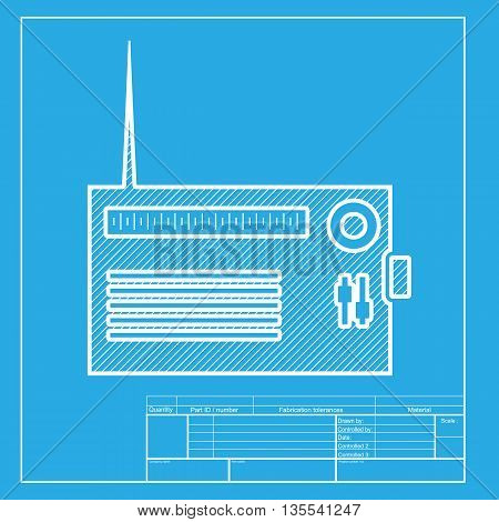 Radio sign illustration. White section of icon on blueprint template.