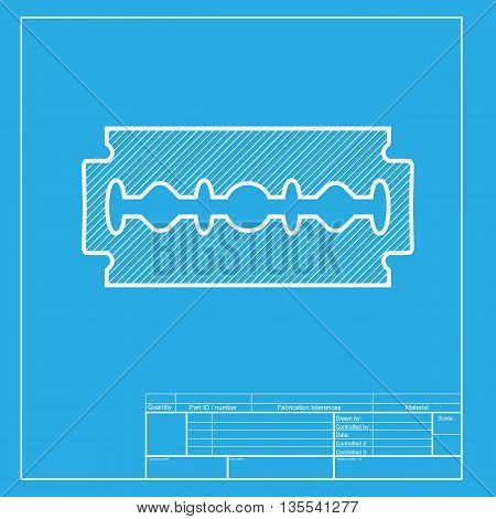 Razor blade sign. White section of icon on blueprint template.