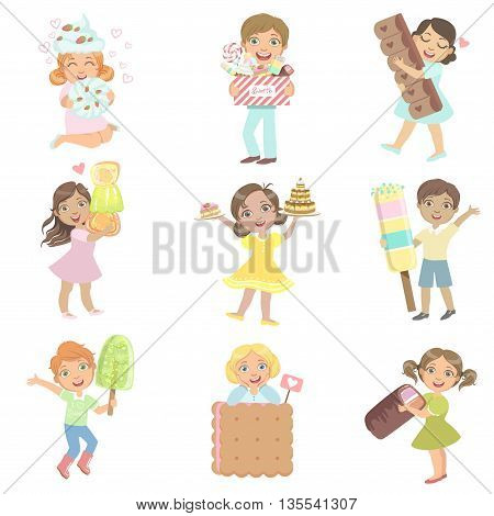 Kids With Giant Sweets Collection Of Simple Design Illustrations In Cute Fun Cartoon Style Isolated On White Background