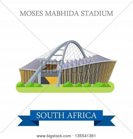 Moses Mabhida Stadium in South Africa. Flat vector illustration