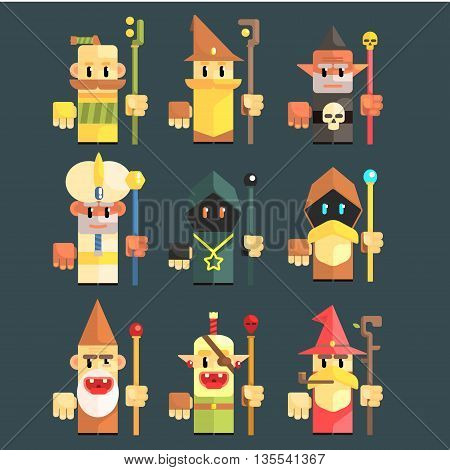 Flash Game Magician Set Of Flat Primitive Stylized Graphic Design Vector Icons Isolated On Dark Background