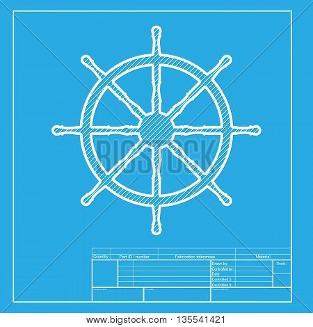 Ship wheel sign. White section of icon on blueprint template.