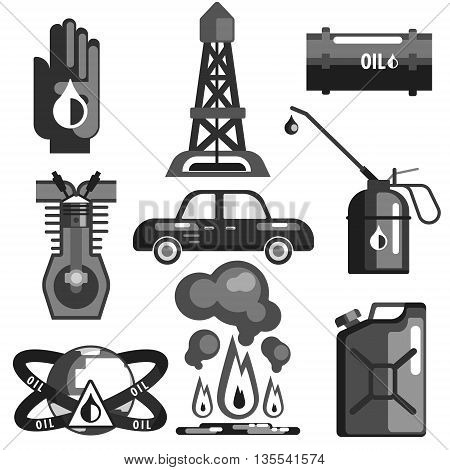 Oil And Gasoline Set Of Icons In Realistic Black And White Graphic Vector Silhouette Design
