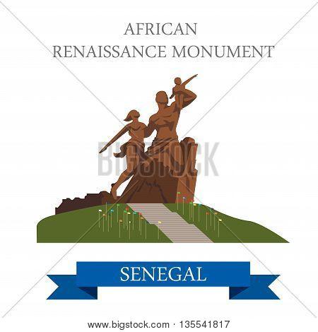 African Renaissance Monument in Dakar in Senegal illustration
